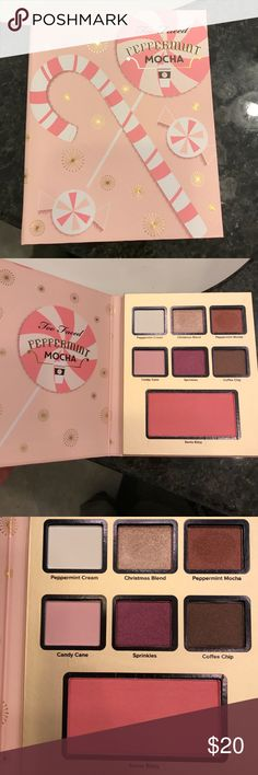 Too Faced Holiday Peppermint Mocha Palette Authentic and never used only swatched.  Beautiful colors they just never get use and I don't want them to go to waste!  Perfect for travel as it includes 6 eye shadows and a blush.  It does have a slight peppermint mocha smell too! Too Faced Makeup Eyeshadow