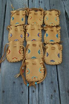 Beaded leather gift bags Special pouches Lot of 10 by thunderrose, $180.00