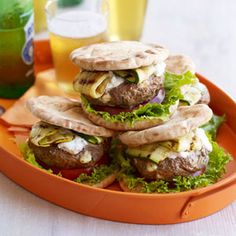 Mediterranean Diet Infused with Mediterranean flavors and topped with mild, creamy tzatziki, these lamb burgers are an exotic twist on the traditional grilled favorite. Recipe: Lamb-Feta Burgers with Tzatziki - At Easter, ground beef is off-limits. Best Lamb Recipes, Ground Lamb Recipes, Favorite Recipes, Family Recipes, Wrap Recipes, Dinner Recipes, Entree Recipes, Dinner Dishes, Dinner Menu