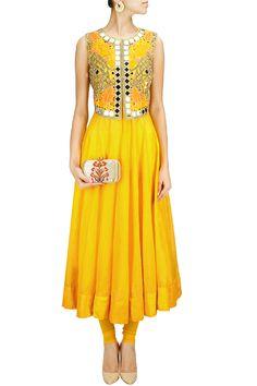 Sunny yellow anarkali set with mirror work falisa vest BY ARPITA MEHTA. Shop now at: www.perniaspopups... #perniaspopupshop #amazing #beautiful #clothes #style #designer #fashion #stunning #trend #new