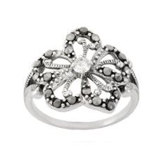 Sterling Silver Marcasite Clear Glass Flower Ring Amazon Curated Collection. $39.00