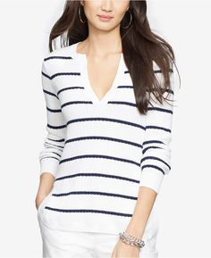 Lauren Ralph Lauren Striped V-Neck Sweater