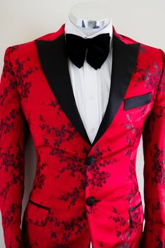 Icon Red & Black Floral Printed Tuxedo Blazer (wedding, party, evening, men, groom, jacket,blazer, silk, prints, attire)