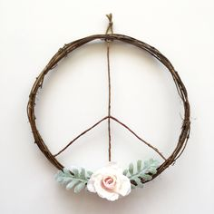 Peace Sign Wreath/Boho Wreath/Boho Chic Wreath/Boho Bedroom Decor/Modern Wreath/Dorm Room Decor/Boho Wall Hanging/Boho Art/Boho Apartment/Peace Wreath/Boho Wedding/Rustic Wreath by SunshineSkyStudio on Etsy