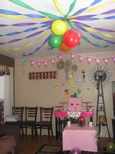 Shopkins Party! Used colored streamers and ballons. Got shopkins birthday banner and cutouts from the shopkins website. Made a Polly Polish Pianta to complete the theme. My daughter loved it!