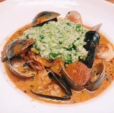 @PulperiaNYC    Brazilian style seafood stew ($32), a white wine based blend of  seafood (bacalao [salted cod fish], shrimp, squid, mussels, white fish, scallops), Spanish chorizo, red ....