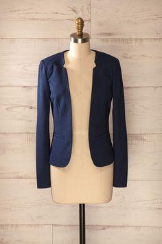 Termoli Bleu - Navy blue textured open jacket - Boutique 1861