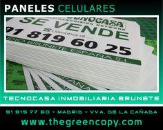 Impresión de PANELES CELULARES para Inmobiliaria Tecnocasa BRUNETE - Villanueva de la Cañada - The Green Copy Madrid - Impresión Gran Formato