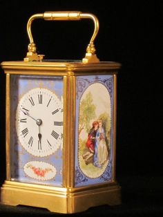 Carriage clock with three fine enamelled panels : The British Antique Dealers' Association