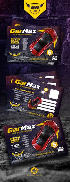 Auto Show Postcard Template PSD, InDesign INDD