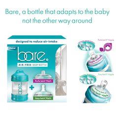 True Air-free baby bottle helps eliminate severe gas/reflux symptoms. Easy-latch for bottle-fed babies & Perfe-latch helps initiate/extend breastfeeding.