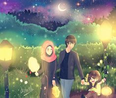 Muslim Manga and Anime Drawings Muslim Family, Muslim Couples, Cute Couple Art, Cute Couples, Perfect Couple, Islamic Cartoon, Family Drawing, Real Anime, Love In Islam