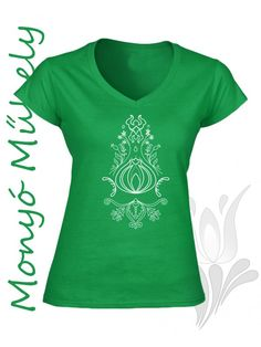 Szűr mintás női póló - Zöld
