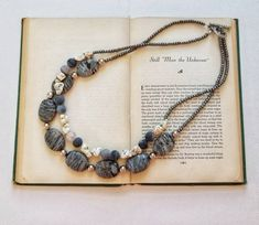 Beaded necklace stone necklace gift large stone necklace go Strand Necklace, Beaded Necklace, Etsy Store, Jasper, Seed Beads, Gemstones, Bracelets, Silver, Gifts