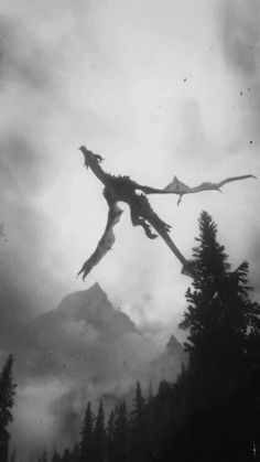 dragon and black and white image
