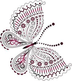 """Photo from album """"Рисованные бабочки"""" on Yandex. Hand Embroidery Designs, Vintage Embroidery, Embroidery Patterns, Butterfly Drawing, Butterfly Design, Alcohol Ink Crafts, Butterfly Pictures, Coloring Book Pages, Dot Painting"""