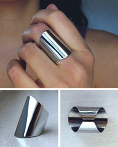 3cm wide statement ring / polished mirror finish / di AshkalShop