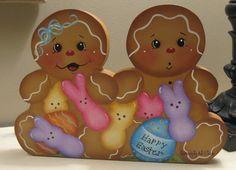 HP Gingerbread Peeps and Easter Eggs Shelf Sitter Handpainted | eBay