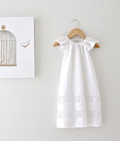 Baby Girl Long Baptism Dress-Soft Winter White Linen and Lace Fully Lined Traditional  Christening Gown-Children Clothing by Chasing Mini on Etsy, £61.73
