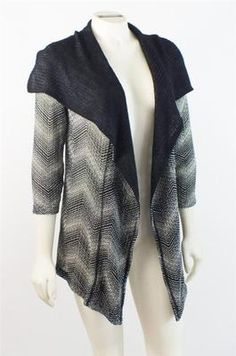 Chico's Travelers Cardigan Open Front Collar Black White XS Size 0