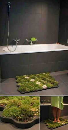 They say that walking on fresh grass increases your blood circulation; The Moss Carpet, created by Nguyen La Chanh, is designed to get the grass to your feet, and also in your loo! Made from imputrescible foam called plastazote, the mat includes ball moss, island moss and forest moss. The humidity of the bathroom ensures that the mosses thrive. That's why you need to place it there and not anywhere else. Little gnomes not included. (Link | Via)