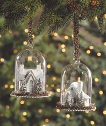 "Cardboard Glitter House in Bell Jar Stunning ornament for your tree! Miniature snow draped and glittered Christmas houses with tiny bottle brush trees within a blown glass cloche that is trimmed in pewter tinsel. Tinsel hanger 5"" H x 3 3/4"" W Sold separately By Bethany Lowe"