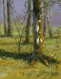"Saatchi Art Artist Vahe Yeremyan; Painting, ""Birches Grove Original oil Painting"" #art"