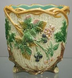 Wedgwood Argenta Majolica Jardiniere, England, c.1880, tree bark body with raised branch rim and foliate design with blossoms and berries