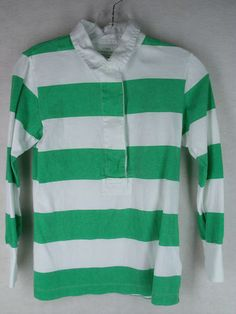 J. CREW green whte stripe sun washed jersey half button 3/4 sleeve top S