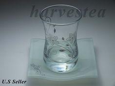 ARTGLASS HANDMADE TEA GLASS 6 TEA GLASS AND SAUCERS