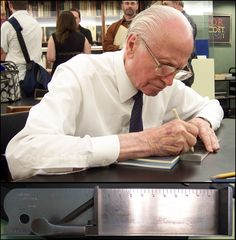 Typography Master, Hermann Zapf, using a diamond stylus to add his signature to a composing stick.
