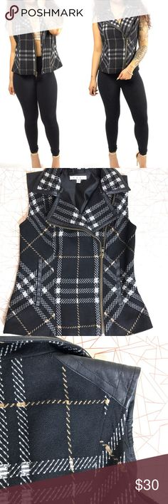 Cabi plaid vest Wool blend motto style vest . Zip up. Heavyweight . Multi-color. Collared. 2 side entry pockets sewn shut, with faux leather accents . Xsmall but can fit a small CAbi Jackets & Coats Vests