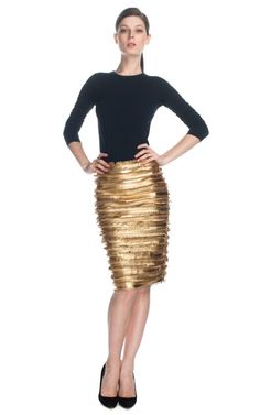 """love this skirt! do think """"modesty"""" for this skirt, as well as most pencil skirts, depends on the person wearing it & the size of the skirt. women ought not be afraid to buy a bigger size. there are no industry standards; size is based on a company's specs & has a lot to do w/ minimizing fabric used & other business considerations. (Patrícia Viera Mix Laser Fringes Skirt)"""