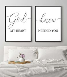 God knew my heart needed you,Bedroom quote set,Bedroom print,Above bed art,Printable art,Bedroom wall art,Couple print,Prints for bedroom by PrintableLoveStory on Etsy Bedroom Wall Quotes, Bedroom Wall Art Above Bed, Bedroom Artwork, Bedroom Prints, Bedroom Signs, Bed Wall, Master Bedroom, Newlywed Bedroom, Bedroom Decor For Couples