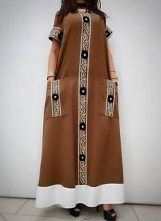 Color Block Pockets Round Neckline Maxi Shift Dress - Brown / S African Maxi Dresses, Ankara Dress, African Attire, African Wear, Caftan Dress, Look Fashion, Fashion Outfits, Fashion Design, Mode Abaya