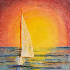 sail me into the sunset:) Simple Canvas Paintings, Acrylic Paintings, Watercolor Painting, Sailboat Painting, Ocean Sunset, Paint And Sip, Hippie Art, Painting Inspiration, Art Inspo
