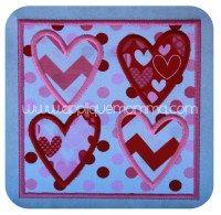 Hearts Patch Applique Design