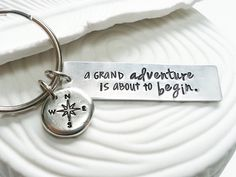 A Grand Adventure Is About to Begin - Winnie the Pooh Quote - Hand Stamped, Personalized Compass Keychain - Graduation Gift