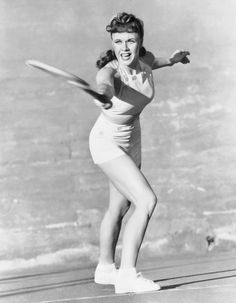 Ginger Rogers playing tennis, Los Angeles, 1940. She was considered by her peers to be the best player in Hollywood.