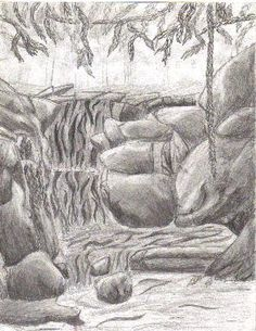 how to draw a waterfall for beginners
