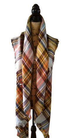 Harvest Gold Tartan Plaid Blanket Over-sized Blanket Scarf, Belted