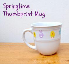 Springtime Thumbprint Mug | One Artsy MamaOne Artsy Mama