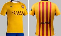 935e6c282 NWT Nike FC Barcelona 2015 16 Away Jersey Yellow Men s Size M 100% Authentic