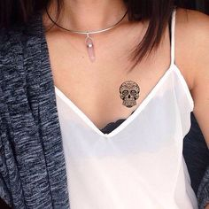 Cool Sugar Skull Temporary Tattoo About 2.5 inches in height Place it on your shoulder, wrist, belly, feet ect -------------- Please avoid, adding the tattoo on lotion skin or wet skin Avoid rubbing against it and water