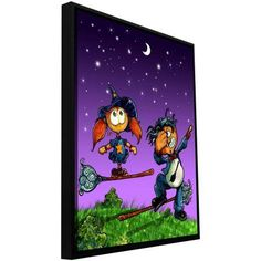 ArtWall Luis Peres Learning To Fly 1 inch Floater Framed Gallery-Wrapped Canvas, Size: 36 x 48, Green