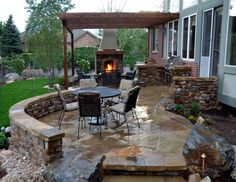this backyard landscaping centered around a large oak tree ... - Back Yard Patio Designs