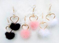 Harajuku fairy kei style winter pom pom earrings.