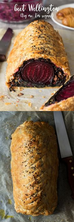 This #beet #wellington makes an impressive #meatfree #xmas or #thanksgiving centrepiece. It goes super well with a simple #balsamic reduction and usual trimmings. It's #vegan #vegetarian #recipe #recipes #dinner #xmasdinner #beetwellington #vegetarianwellington #entree #christmas #beetroot #aquafaba