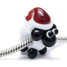 Beads Modul - Glas-Bead - Schaf weiß mit Weihnachtsmütze - 651
