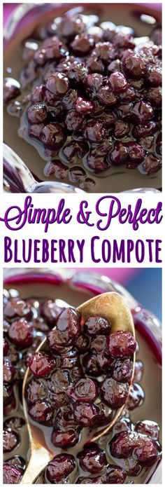 Simple & Easy Blueberry Compote Recipe - The Gold Lining Girl Great Desserts, Best Dessert Recipes, Brunch Recipes, Delicious Desserts, Yummy Food, Summer Desserts, Healthy Food, Compote Recipe, Jam Recipes